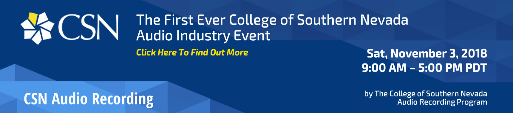 The First Ever College of Southern Nevada Audio Industry Event