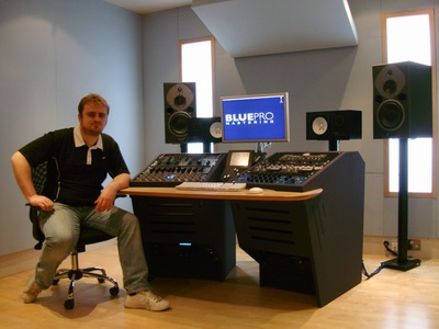 Blue Pro Mastering Engineer John Webber in the facility's recently re-vamped studio