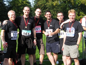 Prism Sound/SADiE's Chariots of Fire 2008 Team. From left to right: Matthew Mason, Dan Poxton, Simon Woollard, Jody Thorne, Chris Allen, Liam Elliott.