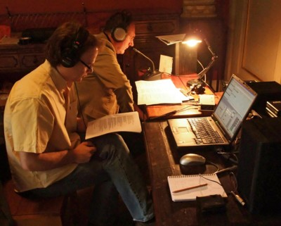 Martin Souter (far) and David Skinner (near) recording 'A Christmas Carol'