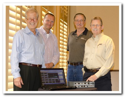 (From left to right): Doug Ordon, Prism Sound; Maurice Patist, Prism Sound; Jim Baker, Spectra Sales; George Holsomback, Spectra Sales