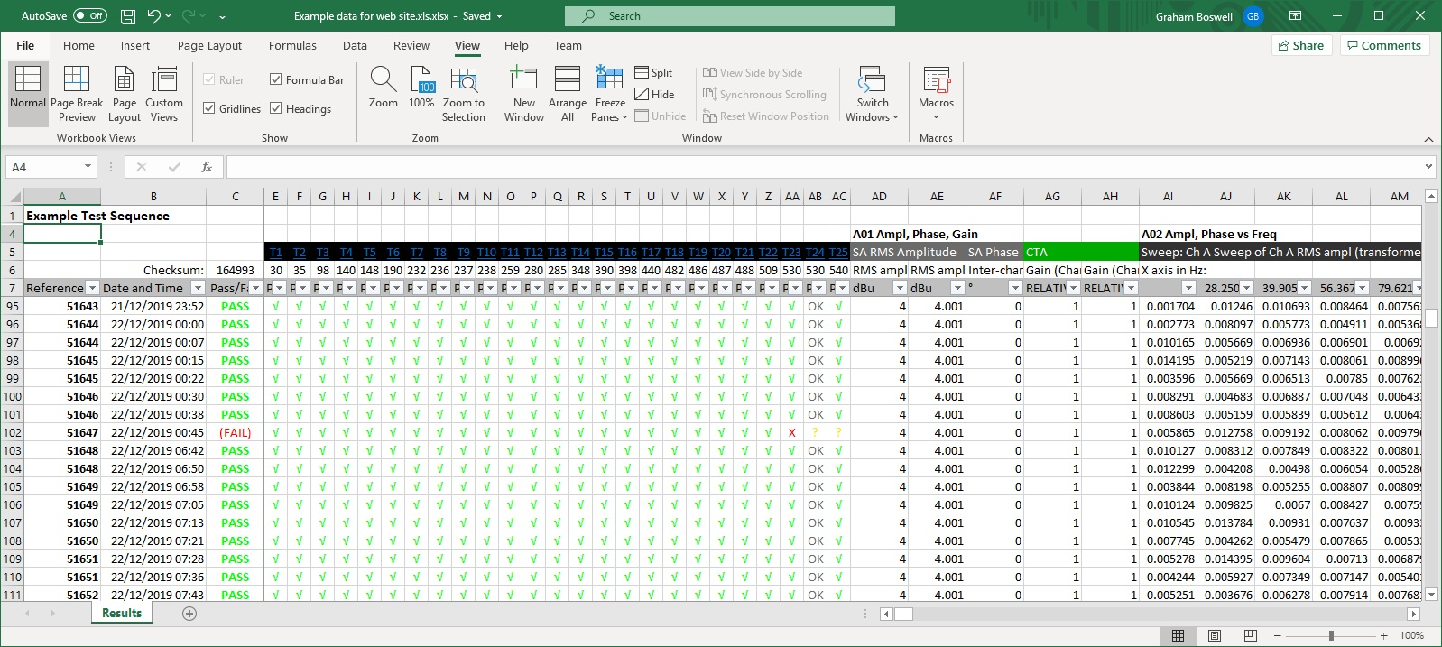 Screen Shot Auto Sequence Excel output