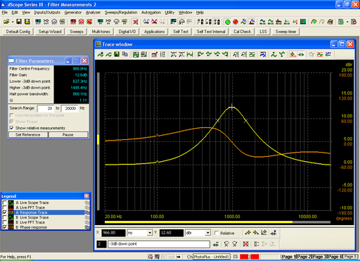 Screen shot filter measurements script in use