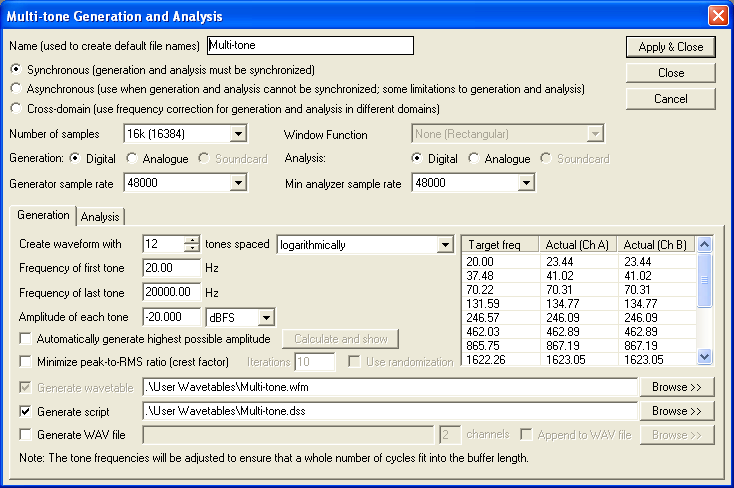 Multi-tone Generation and Analysis dialogue box