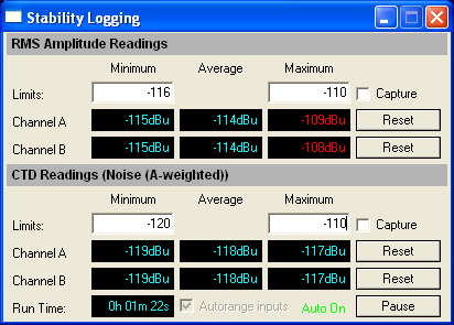 Stability logging script user interface