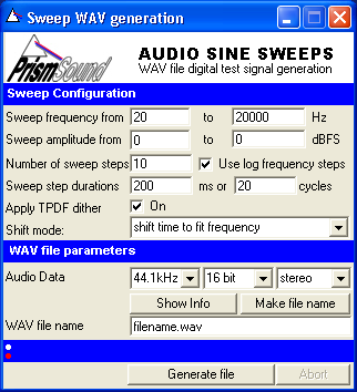 Prism Sound Resources: Sweep Generator Application