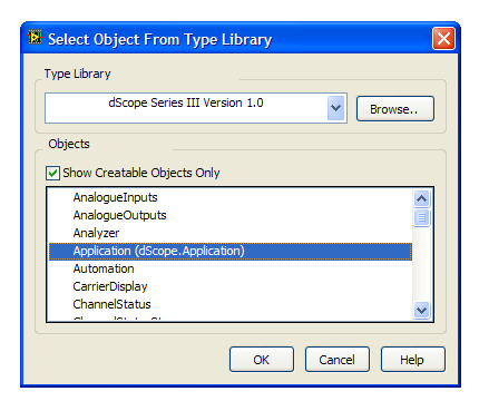 LabVIEW Screenshot: Select dScope Application
