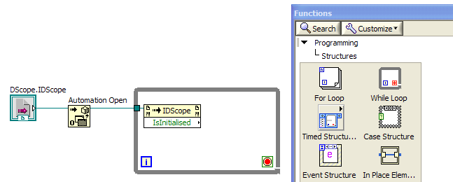 LabVIEW Screenshot: adding a while loop