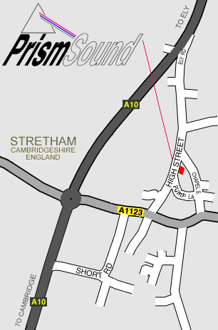 Map showing location of Prism Sound