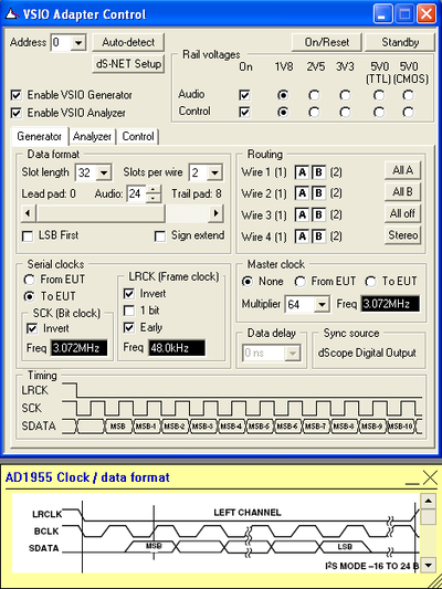 VSIO control panel in dScope Series III software
